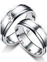 Pentru cupluri Inele Cuplu Verighete Inel Zirconiu Cubic Clasic stil minimalist Zirconiu Cubic Oțel titan Round Shape Bijuterii Pentru
