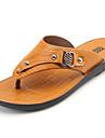 Bărbați Sandale PU Primăvară Vară Toc Jos Galben Maro Închis Sub 2.5 cm
