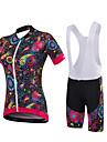 Cykeltröja med Haklapp-shorts Dam Kortärmad Cykel Shorts Tröja Vadderade shorts Bib Tights Underdelar KlädessetSpandex 100% Polyester