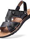 Bărbați Sandale Confortabili Piele Vară Outdoor Plimbare Toc Plat Negru Maro Maro Deschis Sub 2.5 cm