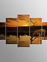 Imprimeu pânză întins Abstract,Cinci Panouri Canava Orizontal Imprimeu Decor de perete For Pagina de decorare
