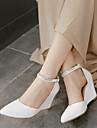 Femme Chaussures Polyurethane Printemps Confort Sandales Gros Talon Talon Compense Talon Aiguille Avec Pour Decontracte Blanc Violet Chair