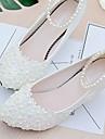 Damă pantofi de nunta Pantof cu Berete Dantelă PU Primăvară Toamnă Nuntă Rochie Party & Seară Aplicații Mărgele Imitație de Perle Flori
