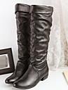 Femme Chaussures Polyurethane Automne Hiver Confort Bottes Talon Bas Bout rond Avec Pour Decontracte Blanc Noir