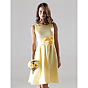 Knee-length Satin Bridesmaid Dress - Daffodil Plus Sizes / Petite A-line Straps / Square