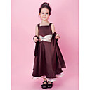 A-line/Princess Tea-length Flower Girl Dress - Organza/Stretch Satin Sleeveless