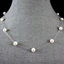 7-8mm přírodní sladkovodní perlový náhrdelník se stříbrným řetězem - 18 palců (více barev)