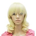 capless středně dlouhý syntetický blond kudrnaté paruka