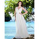 Lanting Bride® Pouzdrové Drobná / Nadměrné velikosti Svatební šaty - Elegantní & moderní Na zem Do V Krajka / Satén s
