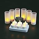 6 ks teplé žluté LED Nabíjecí bezplamenovou svíčky čajové svíčky