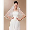 Vjenčani velovi One-tier Elbow Burke Pencil Edge Pearl Trim Edge 57.09 u (145cm) Til Bijela SlonovačaRetka, Ball haljina, princeza, Plašt
