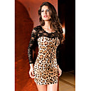Women's Leopard/Lace Animal Print Dress , Sexy/Bodycon/Party Round Neck Long Sleeve Lace