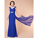 lanting 칼집 / 열 플러스 크기 / 신부 드레스 몸집이 작은 어머니 - 로얄 블루 바닥 길이 민소매 쉬폰