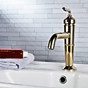 Country Single Handle Brass Bathroom Sink Faucet Ti-PVD Finish