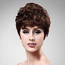 capless 100% umano parrucca marrone capelli mossi corti