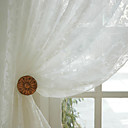 (Two Panels) Classic White Jacquard Sheer Curtain