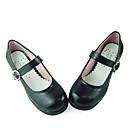 Crna kožna PU 4,5 cm visoka peta škola lolita cipele