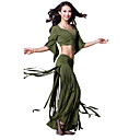 Dancewear Crystal Cotton with Tassels Belly Dance Practice Top and Bottom for Ladies More Colors