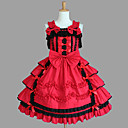 Sleeveless Knee-length Red Cotton Aristocrat Lolita Dress