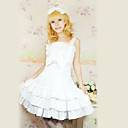 bez rukávů kolena bílé bavlněné ruffle sweet lolita šaty