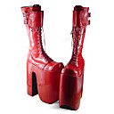 Handmade Red PU Leather 25cn Platform Punk Lolita Boots