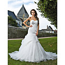 Lanting Bride® Sirena kroj Sitna / Veći brojevi Vjenčanica - Elegantno i luksuzno Dugi šlep Srcoliki izrez Organza s