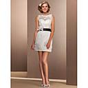 Lanting Bride® Pouzdrové Drobná / Nadměrné velikosti Svatební šaty - Elegantní & moderní / Šaty na hostinu Malé bílé Krátký / Mini Bateau