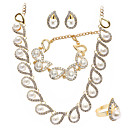 豪華な人造真珠/ジルコン♥ウェディング♥ジュエリーセット(ネックレス、ピアス、リング、ブレスレット)