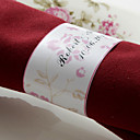 Personalized Paper Napkin Ring - Pink Flower (Set of 50)