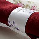 Personalized Paper Napkin Ring - Purple Flowers (Set of 50)