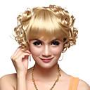 capless kvalitní syntetický krátké kudrnaté blond vlasy, paruky