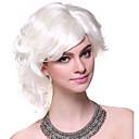 Capless Vysoce kvalitní syntetický krátkými kudrnatými bílými nadýchanými vlasy Paruky