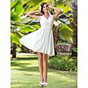 Lanting Bride® A-Linie / Princess Drobná / Nadměrné velikosti Svatební šaty - Elegantní & moderní / Šaty na hostinu Ke kolenům Do V Šifón