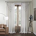 新古典主義の二つのパネル曲線白い寝室のポリコットンブレンドパネルカーテンドレープ