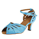 Customizable Women's Dance Shoes Latin/Ballroom Satin Customized Heel Black/Blue