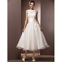 Lanting Bride® A-Linie Drobná / Nadměrné velikosti Svatební šaty - Šaty na hostinu Malé bílé / Svatební šaty s bolerkem K lýtkům Klenot