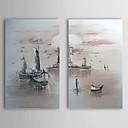 手描きの 風景 2枚 キャンバス ハング塗装油絵 For ホームデコレーション