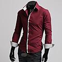 Obično Muška Majica Ležerne prilike,Mješavina pamuka Dugih rukava Crna / Crvena / Bijela / Siva
