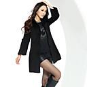 YF Ženska Rever Collar Slim Warm Debeli crni Tweed Kaput