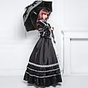 dugi rukav poda crnog satena pamuk classic lolita haljina