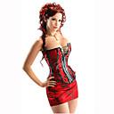 Bavlna Plastové Vykostěné Červený korzet cincher overbust Bride Korzet Sexy spodní prádlo s mini sukně a g-string