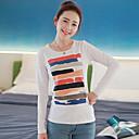 Yihuasha Round Collar Colorful Stripes Pattern Long Sleeve Dno T-Shirt