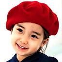 女の子のウールソリッドカラーのベレー帽