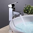 現代風 洗面ボウル シングルハンドルつの穴 in クロム バスルームのシンクの蛇口