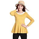 Onodar Ženska Sweet Long Sleeve Čipka Okrugli vrat Fit Žuta majica