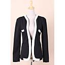 Dámská nové módní Suit Blazer Color Block Slim srst kapse svrchních oděvů