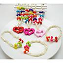 Šperky 1 x náhrdelník 1 x náramek Párty Perly 1Nastavte Dívky Červená Růžová Svatební dary