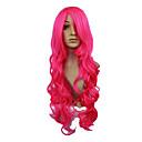 高品質の合成日本カネカロンキャップレス女性のための合成の長い波状ピンクレッドフルバングヘアウィッグ