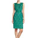 YJS Elegant Round Collar rukava Čipka šivanje haljina (zelena)