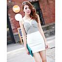 Hanguoyi Ženska Bodycon kontrast boja V Neck Dress
